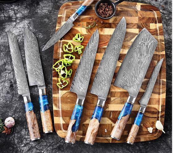 Набор кухонных ножей Дамасская сталь VG10