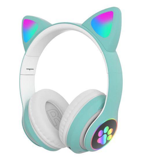 Наушники детские (женские) светящиеся с микрофоном QearFun «Милый кот»